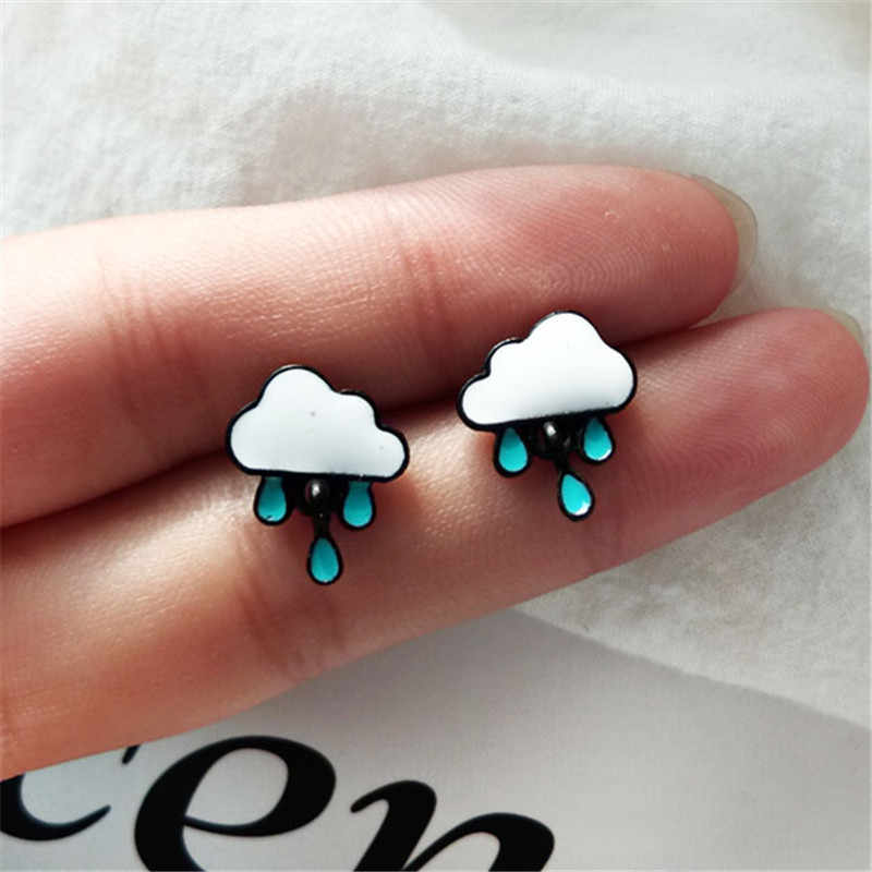 Fashion woman stud earrings Simple cartoon stud earrings female white clouds blue stud earrings for women jewelry wholesale