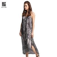 Outline Women Geometric Print Cotton Spaghetti Strap Dress Vintage V-Neck loose Long each Casual Summer Lady Vestidos L172Y051