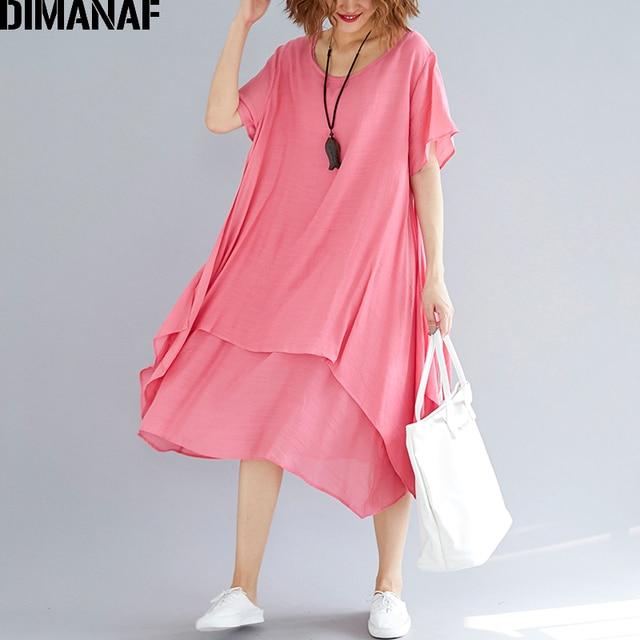 a82912bfd83 DIMANAF Women Dress Sundress Clothing Plus Size Linen Femme Elegant Lady  Vestidos Casual Solid Ruffle A
