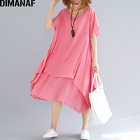 DIMANAF Women Dress Sundress Clothing Plus Size Linen Femme Elegant Lady Vestidos Casual Solid Ruffle A Line Dresses 2018 Summer