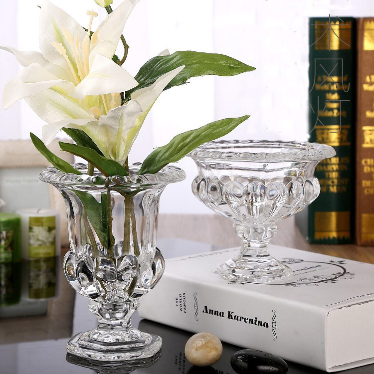 Europe Crystal Glass Vase Thickening Flanging Table Vase Creative Hydroponic Flower Vase Fashion