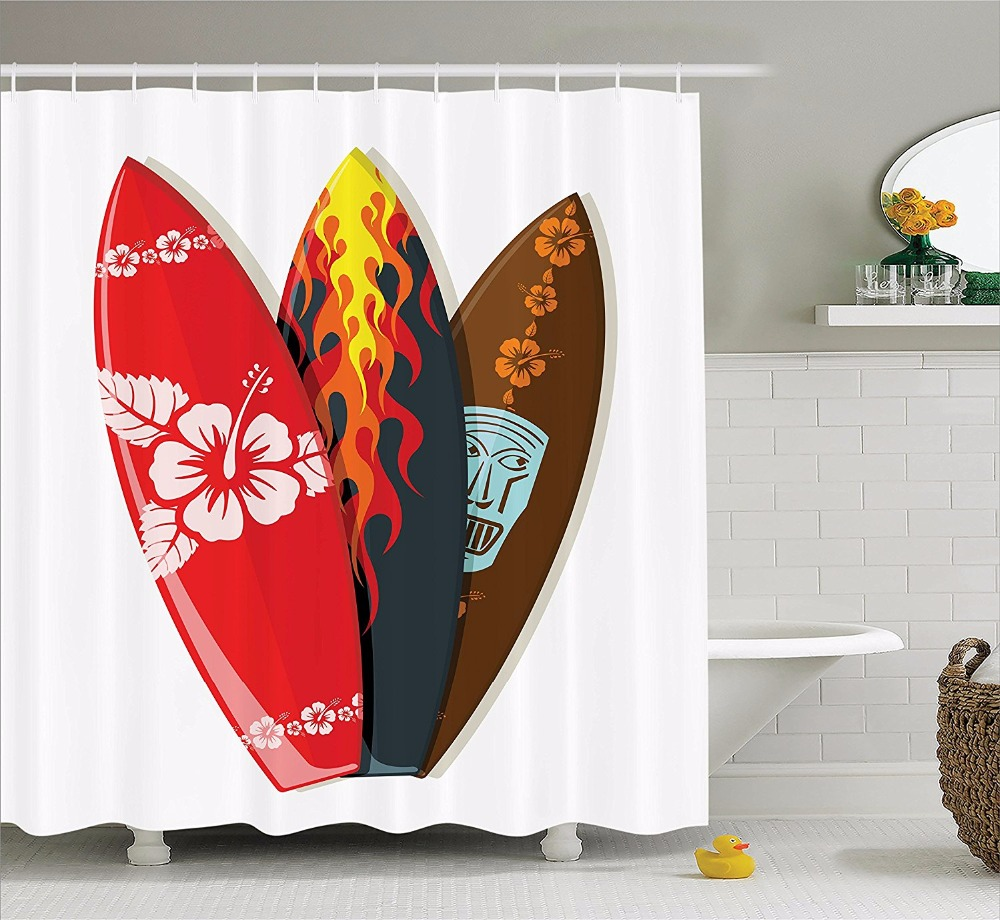 high quality arts shower curtains red flower flame mask surfboard bathroom decorative modern waterproof shower curtains