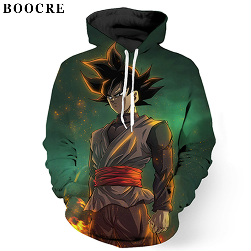 BOOCRE Dragon Ball Z Hoodies 3D Printed Pullovers Sportswear Sweatshirts Super Saiyan Son Goku Vegetto Trunks Casual Coat Outfit