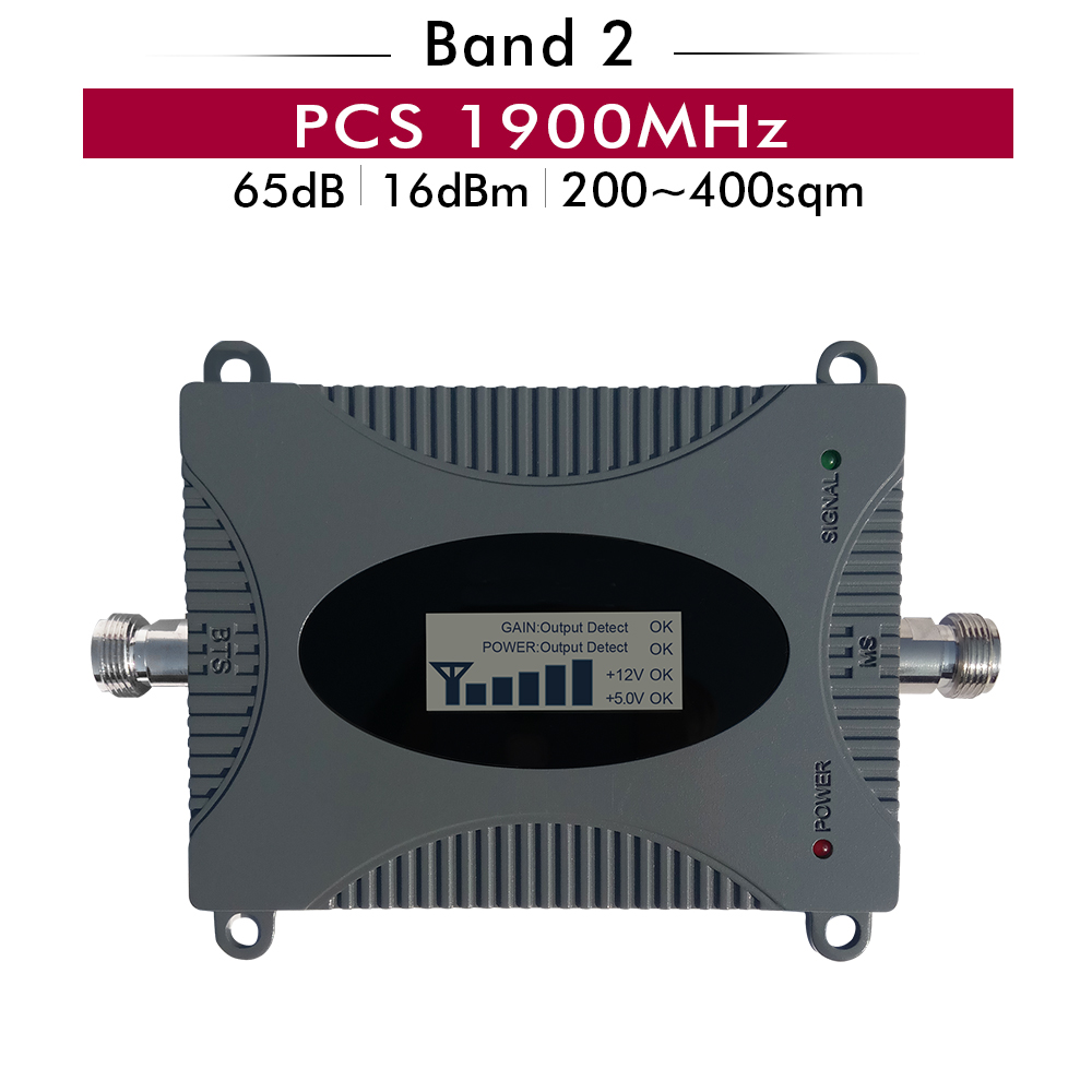 65dB Gain LCD Display PCS 1900mhz Cell Phone Signal Repeater (LTE Band 2) PCS 1900mhz Cellular Amplifier Mobile Signal Booster65dB Gain LCD Display PCS 1900mhz Cell Phone Signal Repeater (LTE Band 2) PCS 1900mhz Cellular Amplifier Mobile Signal Booster
