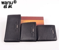 WANU 100 New Top Genuine Cow Leather High Quality Men Short Wallet Bifold Coin Purse Slim