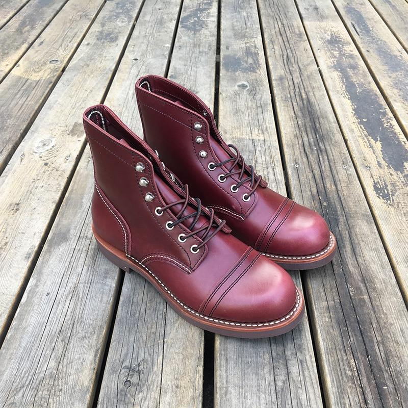 Cuero genuino de alta calidad nuevos zapatos casuales de hombre de lujo diseñador británico Otoño Invierno botas de tobillo vino rojo motocicleta botas