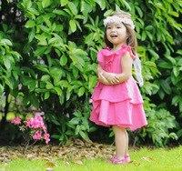 Retail Beach Casual Girl Dress Summer New Children S Girls Rose Red Chiffon Ruffles Party Dress