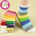 10 pares/lote crianças meias para meninos das meninas novo 2014 marca rainbow listrado curto meias estilo Britânico terno 1-12year atacado
