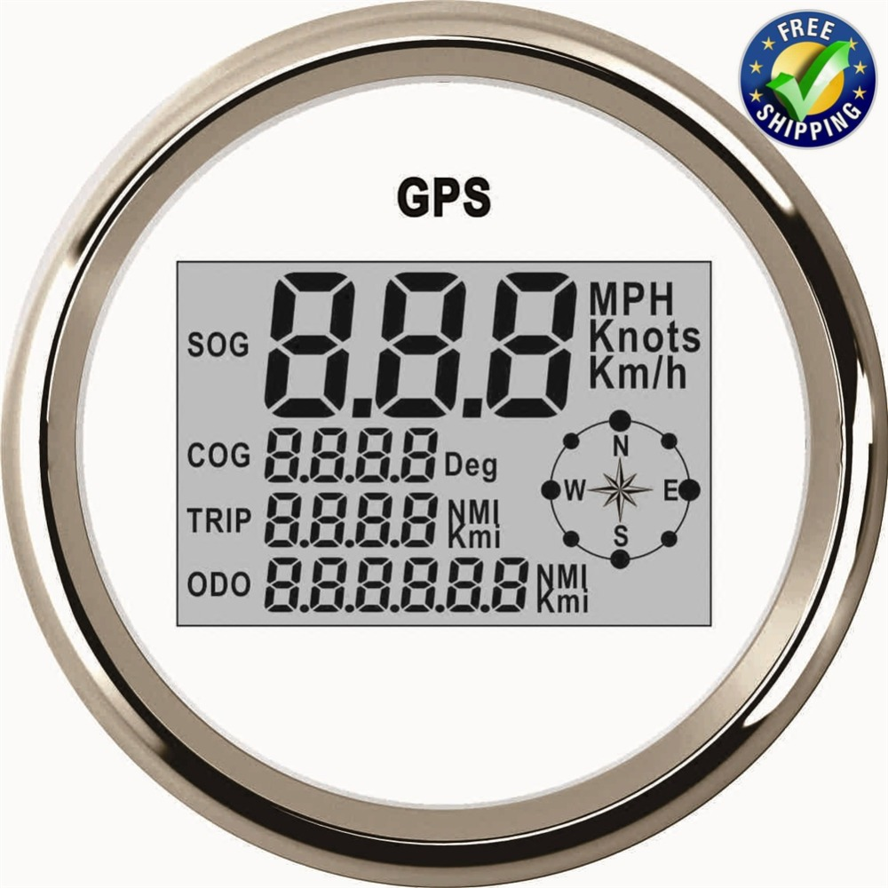 85mm Auto Instrument Panel Digital GPS Speed Indicators 0-999 Waterproof Speedometers SOG COG Trip Odo with Red Backlight White 1pc brand new auto tuning gauges 85mm gps speedometers 0 200km h lcd speed indicators with red backlight and antenna for sale