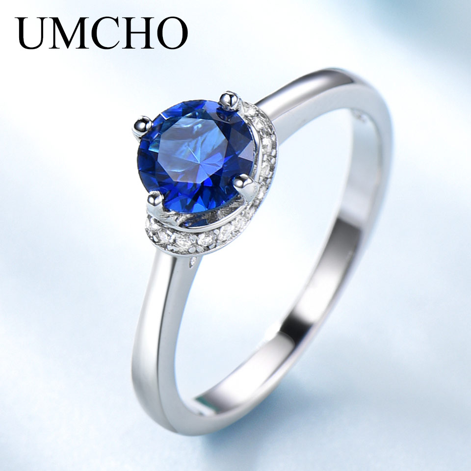 UMCHO Blue Sapphire Gemstone Rings For Women Genuine 925 Sterling Silver Halo Promise Ring Engagement Wedding Party Jewelry Gift
