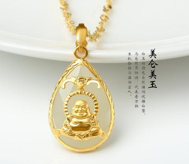 Natural jade jewelry and jade and nephrite jade pendant gold inlaid natural jade jewelry and jade and nephrite jade pendant gold inlaid jade pendant drop smiling buddha aloadofball Image collections