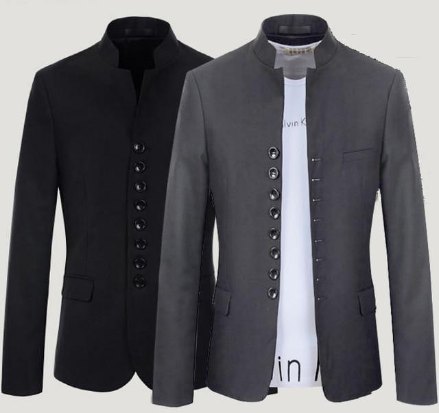 157f6878fe Mandarin Collar Blazer Men Grey Black Single Breasted Casual Retro Men Slim  Fit Blazer