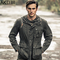 AK CLUB Brand Men Jacket Field Military Style Hooded Jacket Middle-Length Jacket Cotton String Defined Waist Men Coat 1504850