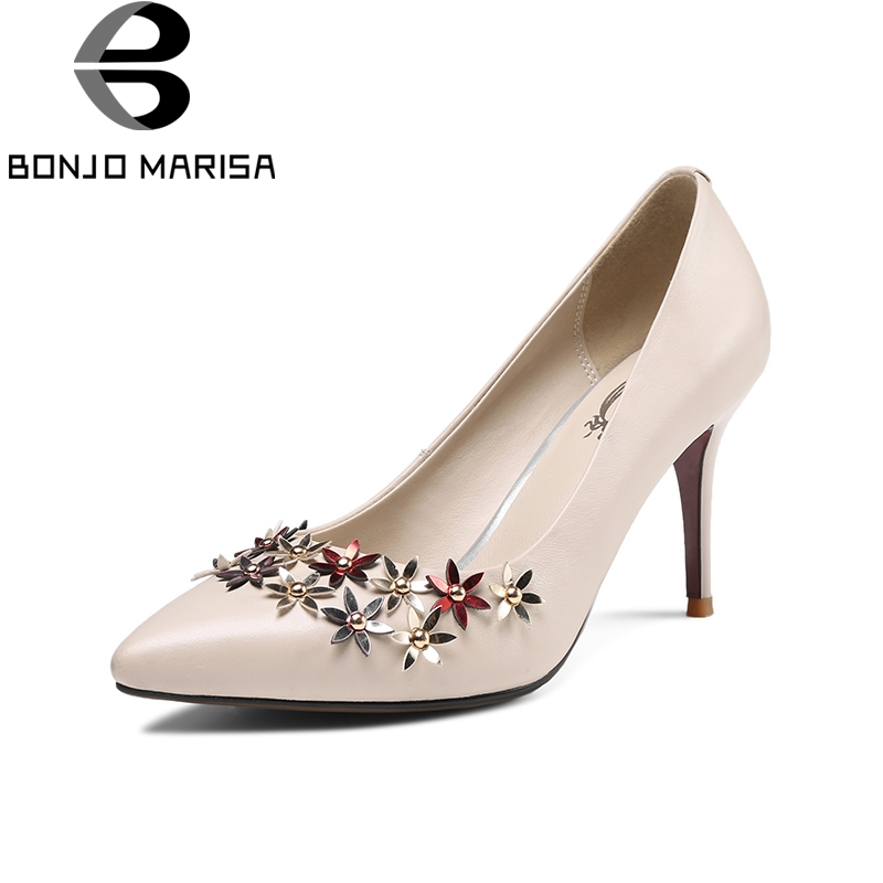 BONJOMARISA 2018 Spring Autumn Elegant Genuine Leather Women Flower Pumps Fashion Lady Ol High Heels Shallow Shoes Woman siketu 2017 free shipping spring and autumn women shoes fashion sex high heels shoes red wedding shoes pumps g107