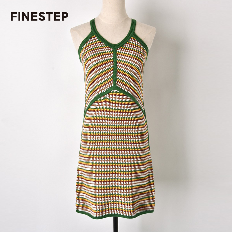 Sweater Dress Off Shoulder Spring Autumn Knitted Dress for Women Slip Dress with Green Stripes cute off the shoulder lemon dress for women