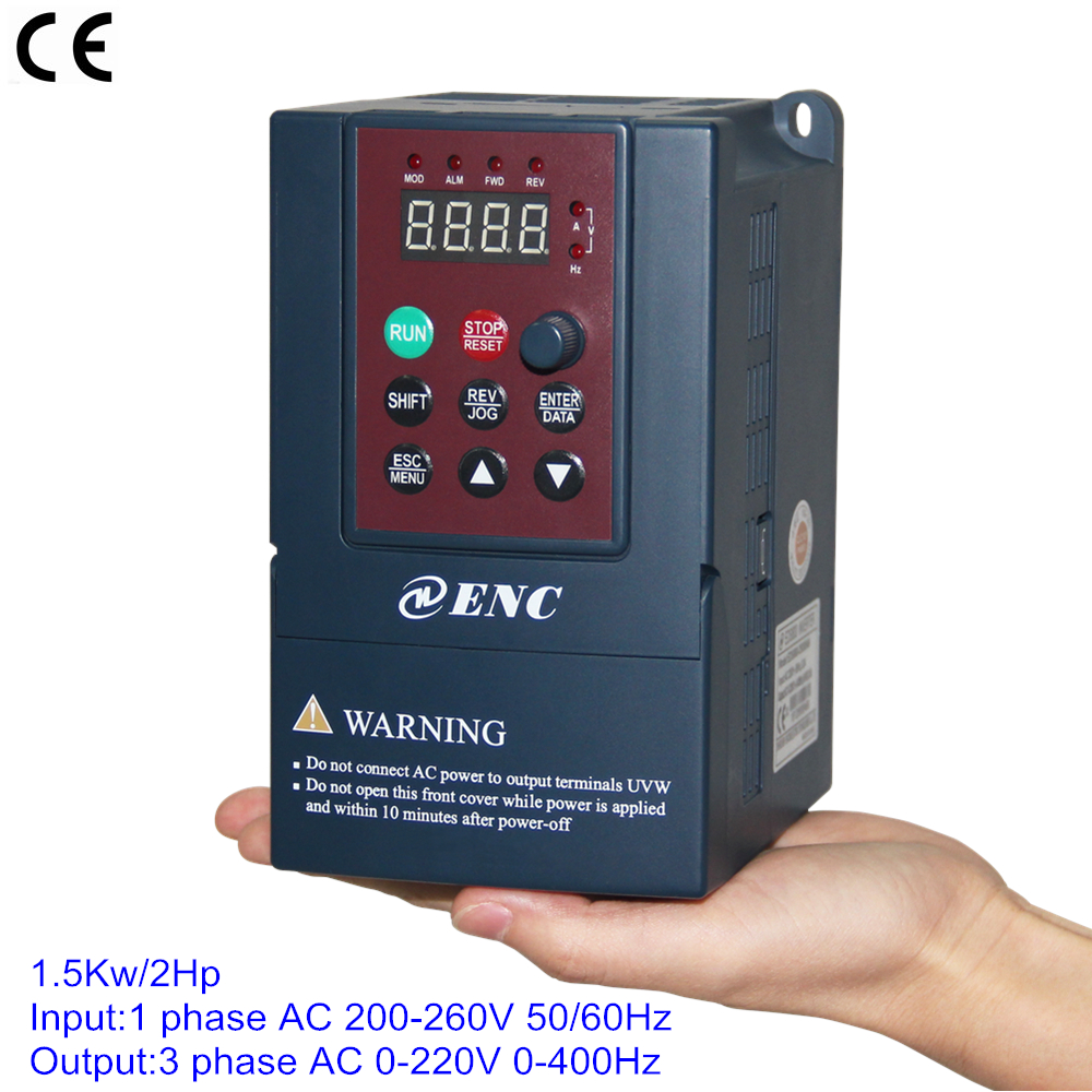 Single phase 220v 1 5kw 7 5a vsd vfd frequency inverter for How to convert 3 phase motor to single phase 220v