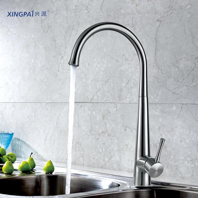 stainless steel kitchen faucets reglaze sink xingpai brushed faucet single hole high arc gooseneck side handle 360 swivel tap xp68203