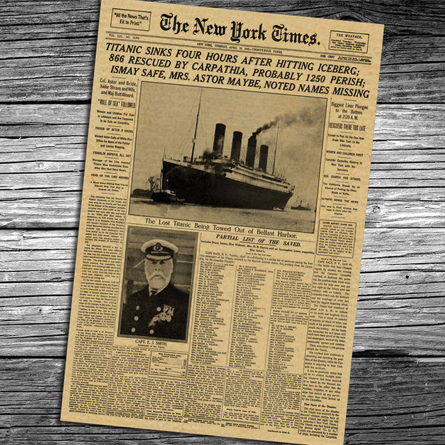 The New York Times Old Newspaper Nytimes Poster Vintage Retro Painting Wall  Art Sticker Living Room