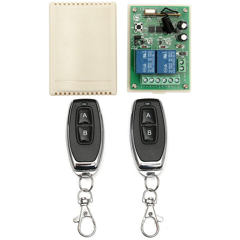 100M Wireless Remote Control Light Switch 12V 10A Relay 2Pcs 315Hz  RF Transmitter+ 2CH Receiver Module Remote Controls New 2ch 5v wireless remote control light switch receiver relay module 433mhz rf on off switches for lamp light motor gaage door