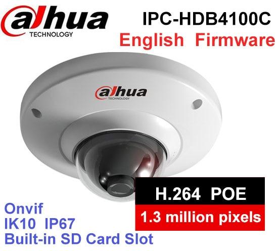 Dahua IPC-HDB4100C cctv camera 1.3MP IK10 IP67 DH-IPC-HDB4100C IP camera with POE SD card slot ipc 9600 cctv tester ip