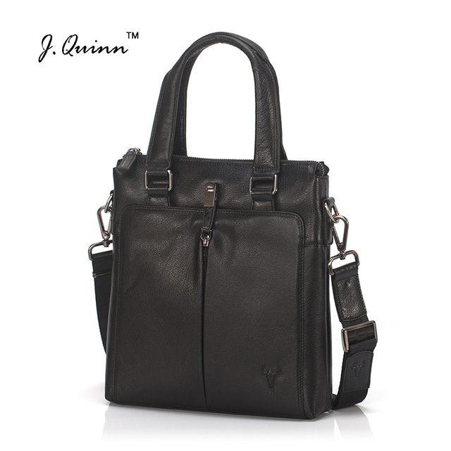 J.Quinn Men Briefcase Cowhide Business Tote Genuine Leather HandBag IPAD Men's Crossbody Shoulder Bag Travel Bags Zipper Pockets