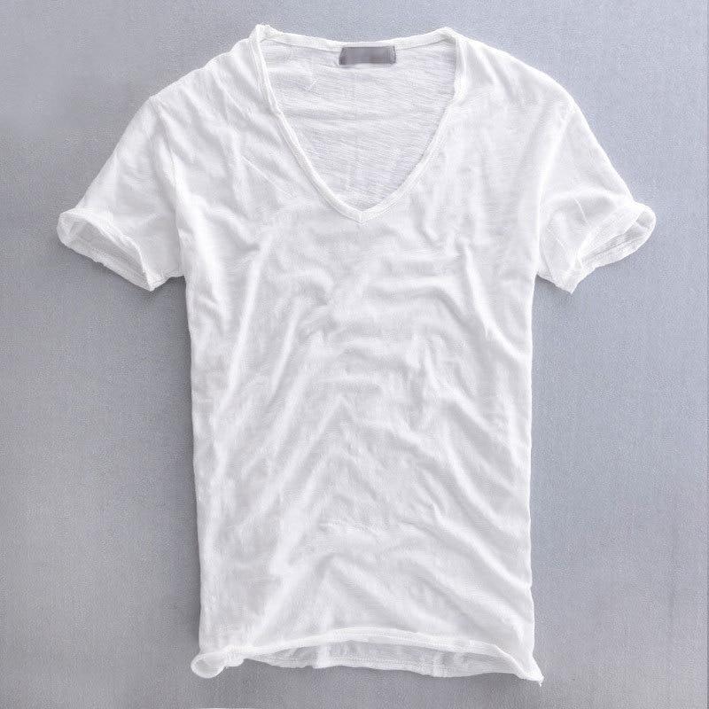100 Cotton T Shirt Men 2018 White Blank Tshirt Short Sleeve V