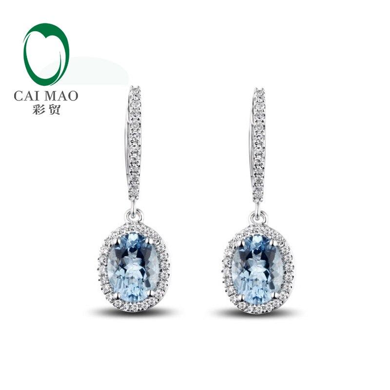 Caimao bijoux classique 14 K or blanc bleu Aquamorine & diamant boucles d'oreilles de mariage - 2
