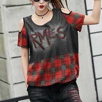 Punk Open Shoulder Tops Tee Shirts 2019 New Womens Summer Jean T shirt Casual Batwing Female Vintage Tshirt Streetwear LT939S50