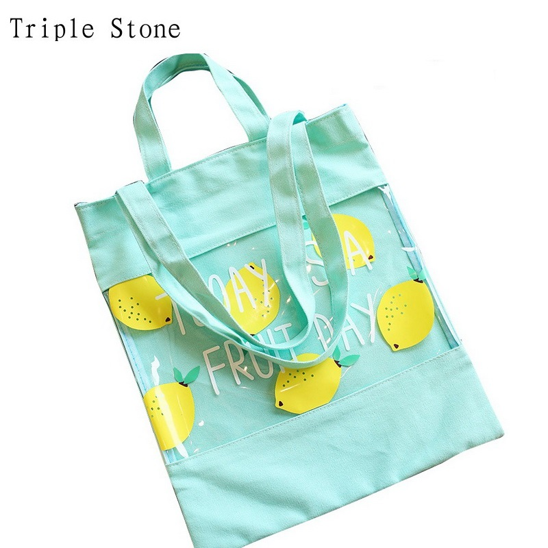 цена на Triple Stone 2017 Summer Women Canvas Handbag Fruit Printing Casual Shopping Tote Jelly Transparent Beach Shoulder Bag Patchwork
