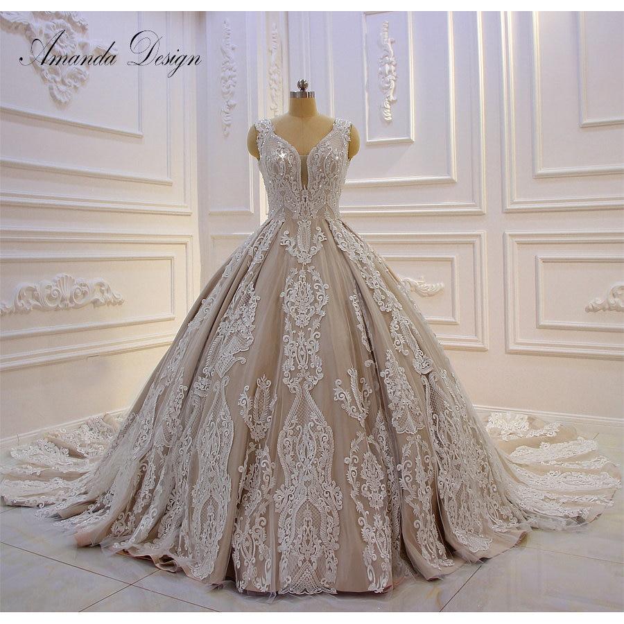 Amanda Design bruidsjurken Cap Sleeve Lace Appliqued Champagne Luxury Wedding Dress