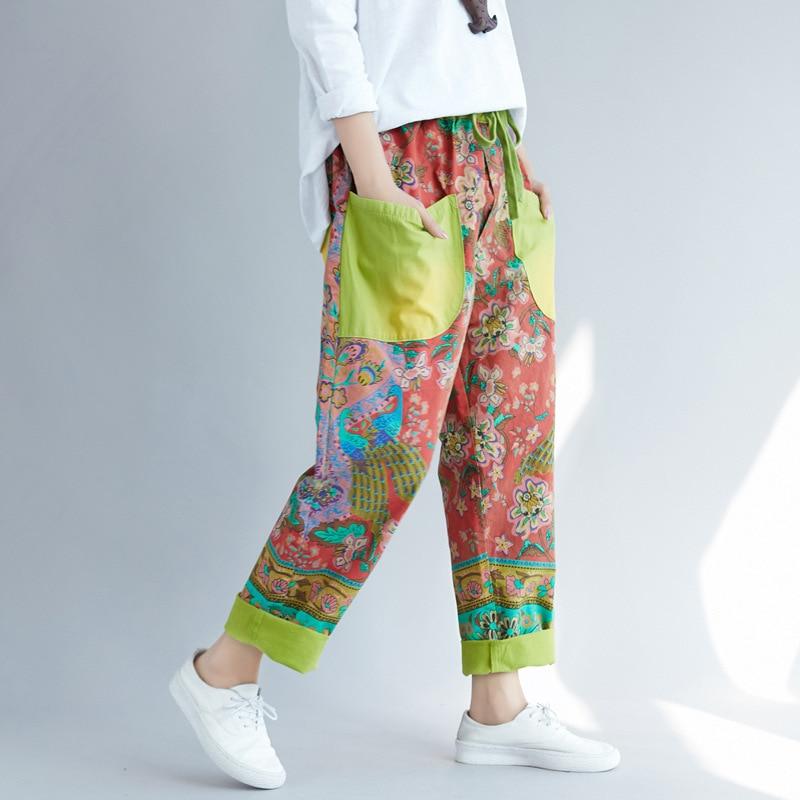 De Vaqueros Harem Mujeres Suelto Las verde Completa 2019 Denim Gris Vintage Otoño Plus Imprimir Tamaño amarillo Novio Pantalones Longitud Vaquero Runback Algodón xtSwCIAqt