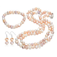 SNH 8mm Baroque Pearl Jewelry Sets Necklace Bracelet Earrings Pearl Sets For Women 36''Jewelry Wedding Jewlery Christmas Gift