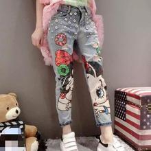 Фирменные джинсы для женщин 2016 осенняя мода тяжелая мультфильм коллаж блестками джинсы женские A-146