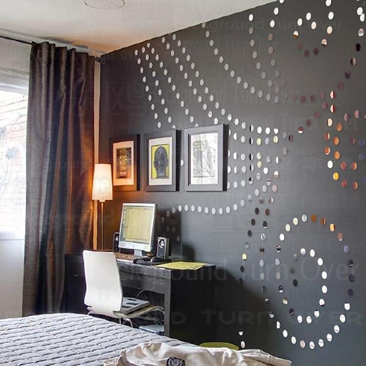 Creative défilement herbe motif cercle dot acrylique miroir stickers muraux décalque DIY chambre salon de coiffure décor décoratif miroirs R099