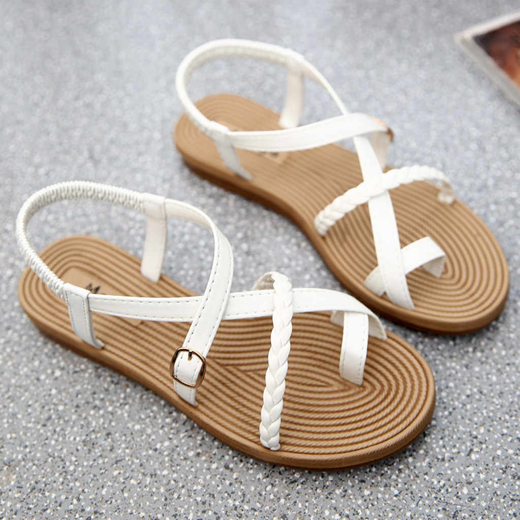 Sandálias Da Moda Sandálias Gladiador Das Mulheres Sapatos de Verão Sandálias Brancas do Sexo Feminino Estilo Roma Sapatos teenslippers #4 Cruz Amarrada