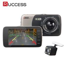 Ruccess видеорегистраторы 4 «черточки автомобиля Камера передние и задние видео Регистраторы 1080 P HD Видеорегистраторы для автомобилей Двойной объектив с заднего вида камера Ночное видение