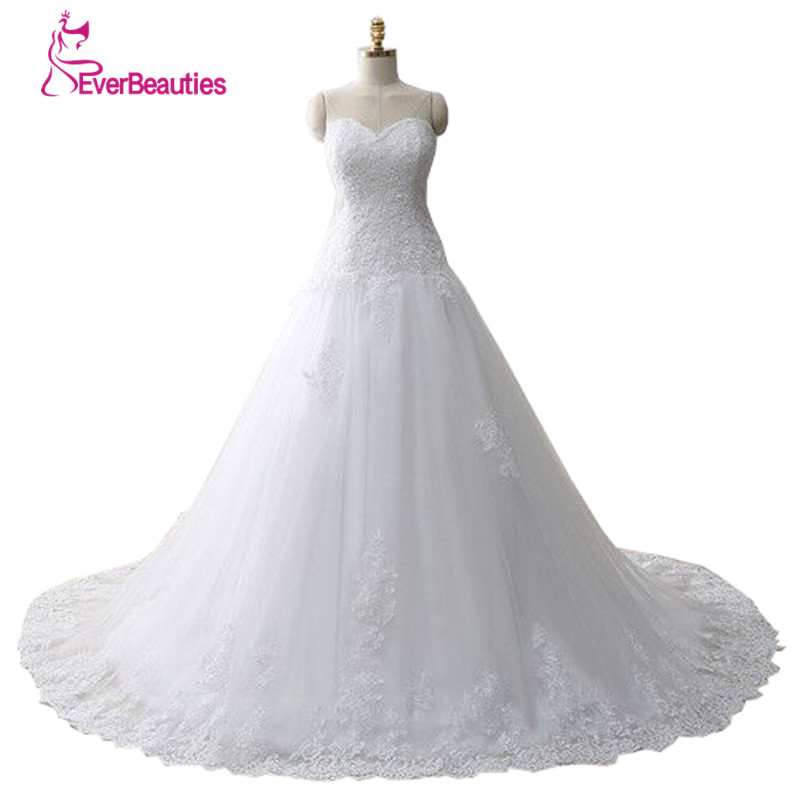 Vestido De Noiva Lace Trouwjurk Gelinlik Elegant A line Sweetheart Appliqued Tulle Bridal Wedding Dress 2020