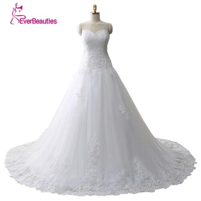 Vestido דה Noiva תחרה Trouwjurk Gelinlik אלגנטי אונליין מתוקה Appliqued טול כלה חתונה שמלת 2019