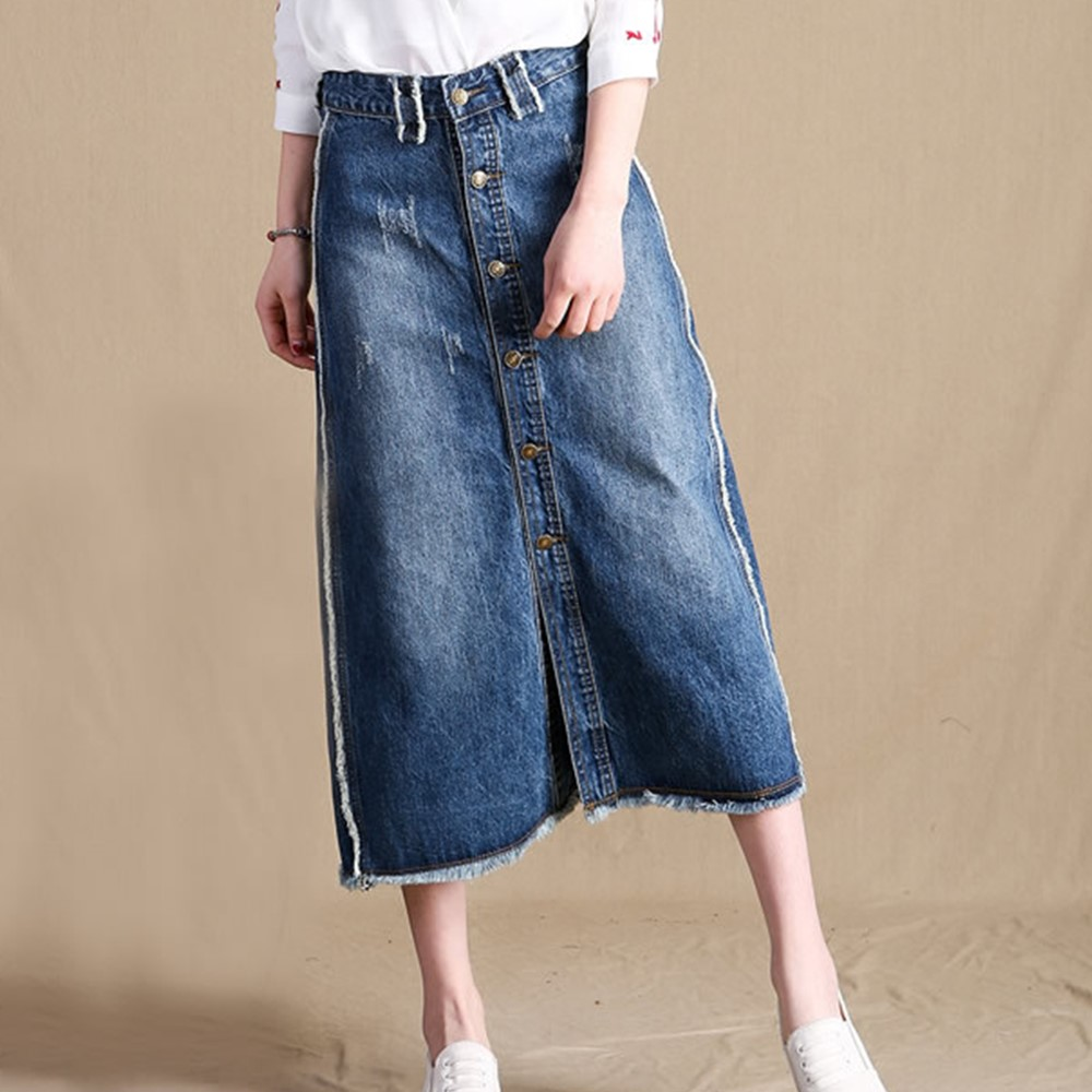 S-9XL summer high waist midi a-line single breasted ripped fringed denim skirt for women vintage womens oversize skirts saias a-line