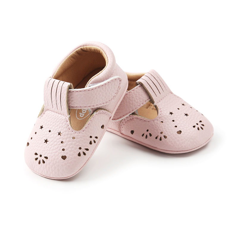 WONBO New Arrival Baby Moccasins Cute Hollow T-strap Baby Girls First Walkers PU Leather Infant Baby Shoes