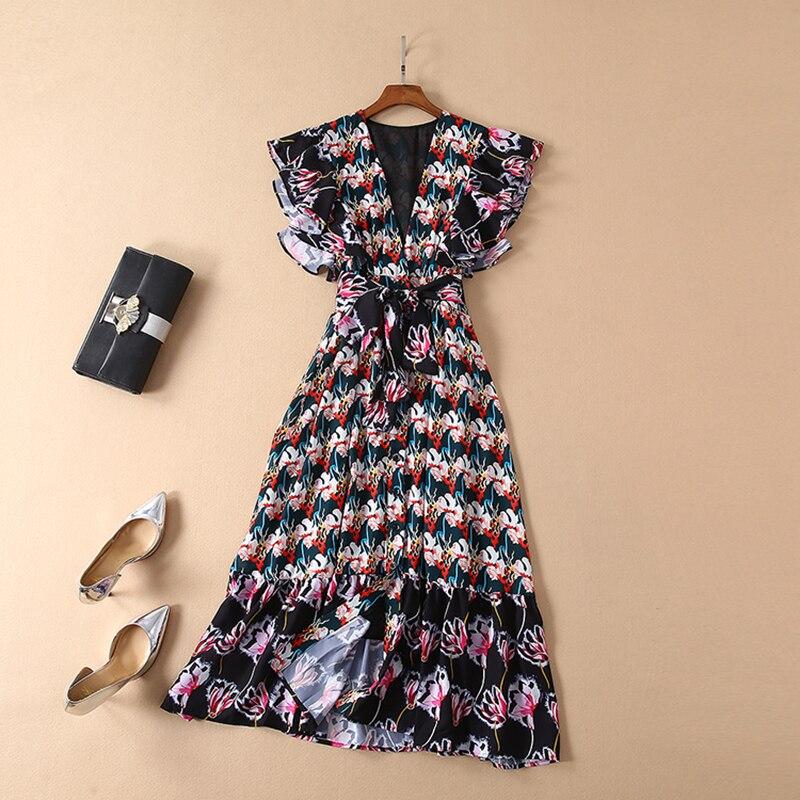 Wysoka jakość najnowszy wiosna lato moda 2019 Runway suknia damska koszulka z dekoltem w serek koronki zdobione długa sukienka w Suknie od Odzież damska na  Grupa 1