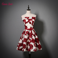 TaooZor Autumn Women Cocktail Party Dress 2018 Elegant A Line Knee Length Burgundy Sashes Bow Flowers