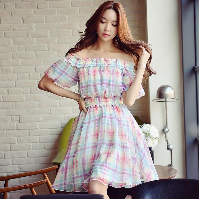 a2e4ecba7211 original dress summer women 2017 new korean ladies fashion casual short  sleeved plaid dresses wholesale