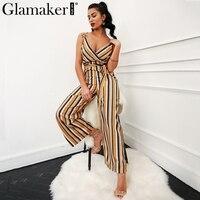Glamaker Sexy Multi Stripe Women Jumpsuit Romper Loose Warp High Waist Summer Jumpsuit Playsuit Beach Wide