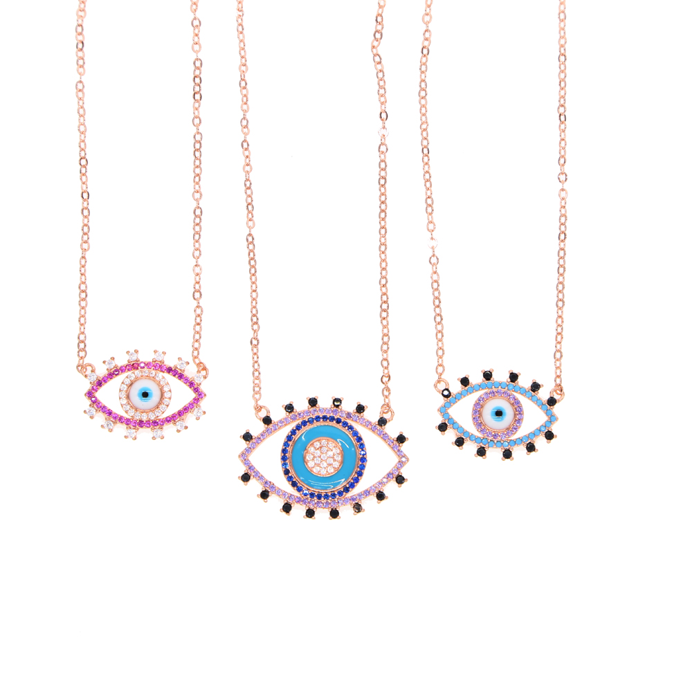 63069c56a90d Detail Feedback Questions about fashion jewelry mix red blue purple  colorful cubic zirconia turkish evil eye elegant women rose gold color  fashion necklace ...