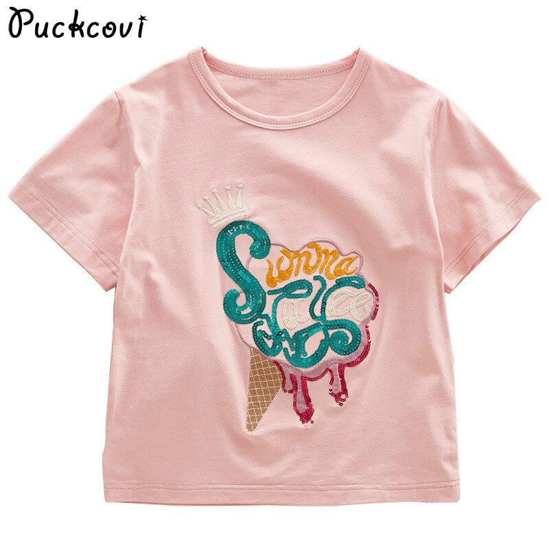 Girls t shirt 2018 Summer tshirt Kids clothes Elastic Cotton t shirt Roupas infantis menina Sequin embroidery T-shirt For 4-14y
