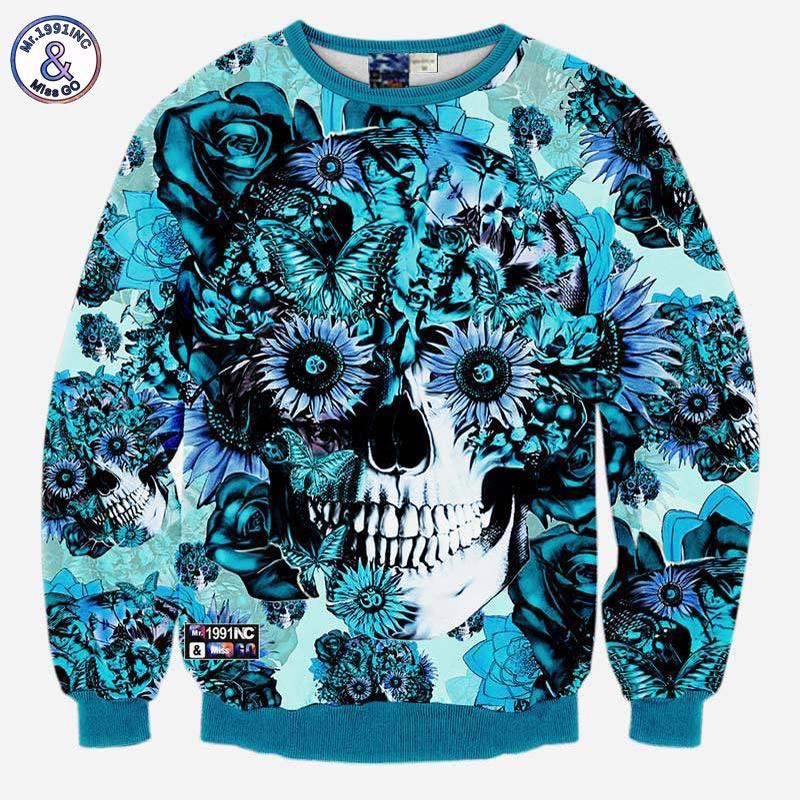 Mr.1991INC Skulls printing men/women 3d sweatshirt print blue roses Sunflower and butterfly long sleeve hoodies autumn pullover