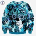 Mr.1991INC Skulls printing men/women 3d sweatshirt print blue roses Sunflower and butterfly long sleeve hoodies autumn pullover