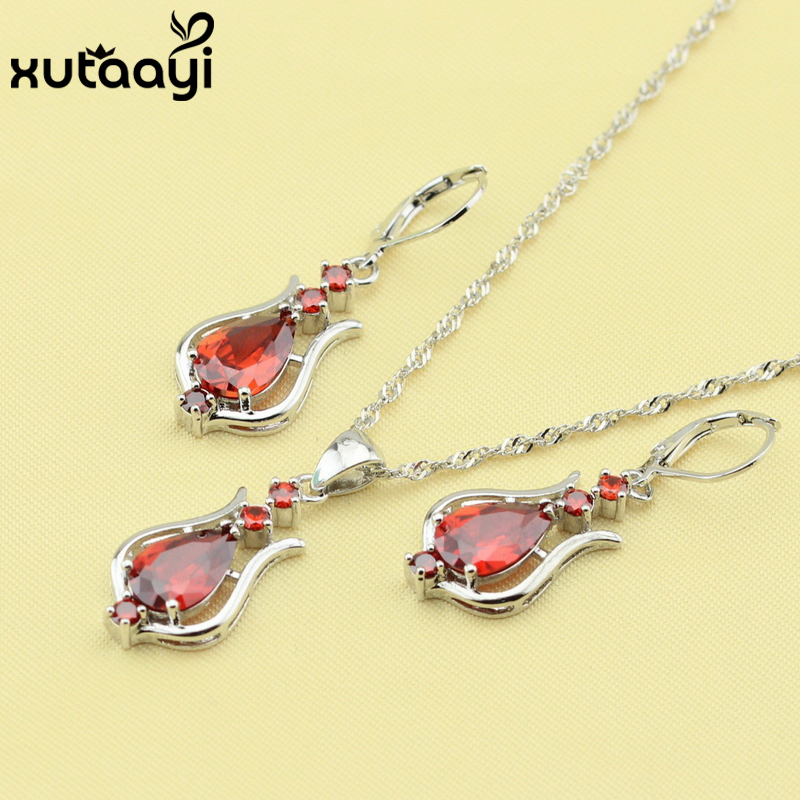 XUTAAYI Superb Silver Color Jewelry Sets For Women, Synthetic Red Garnet Alluring Necklace Pendant Drop Earrings Christmas Gift
