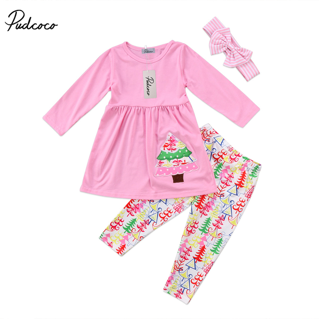 50d2d7f58 3Pcs Christmas Tree Kids Baby Girls 2 7Years Outfit Clothes Long ...